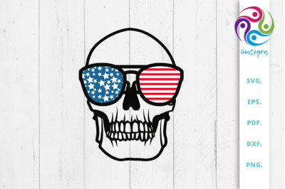4th Of July Skull With Sunglasses USA America