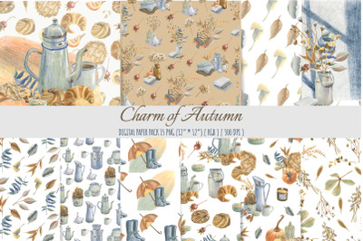 Autumn floral digital paper. Floral seamless pattern.