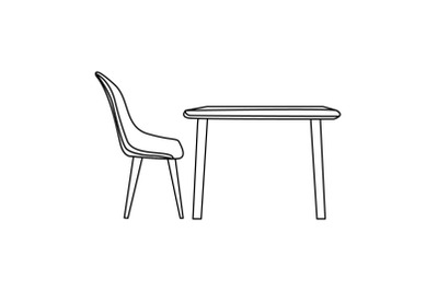 Kitchen Dining Table Outline Flat Icon
