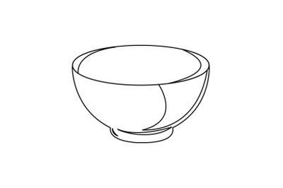 Kitchen Bowl Outline Flat Icon