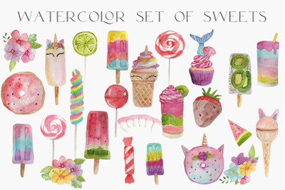 watercolor set of sweets png clipart