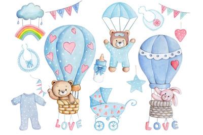 Baby Design Set. Watercolor illustrations.