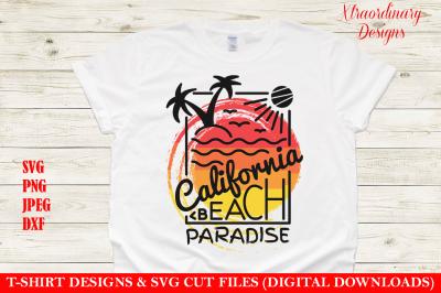 California Beach Vacation T-Shirt Design SVG