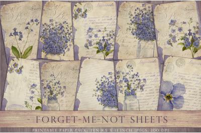 Vintage flower junk journal sheets