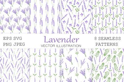 Lavender pattern. Provence flowers pattern. Lavender SVG