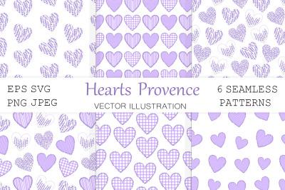 Hearts pattern. Hearts Provence pattern. Lavender pattern
