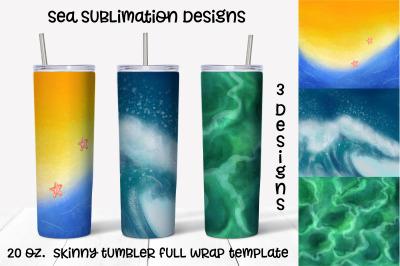sea  sublimation design. Skinny tumbler wrap design