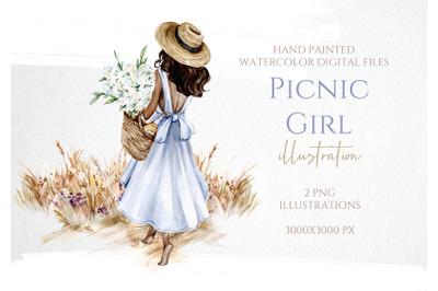 Fashion Picnic Girl Illustration
