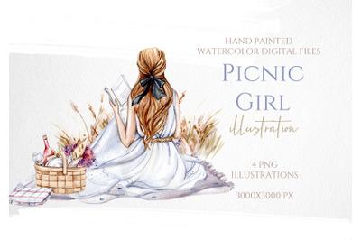 Girls on Picnic Illustration