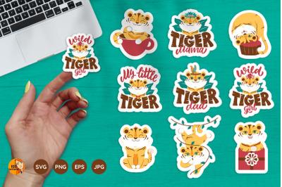 Cartoon Tigers. Printable stickers