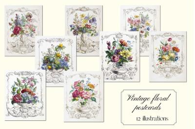 Vintage Floral Postcards, Digital Floral Postcards for Scrapbooking