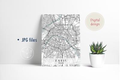 Paris France, Jpg files, city map printable