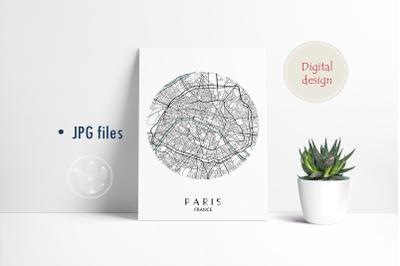 Paris France round, Jpg files, city map printable