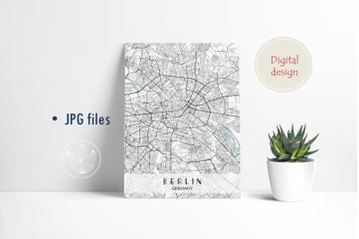 Berlin Germany, Jpg files, city map printable
