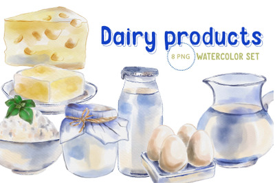 Dairy products watercolour clipart