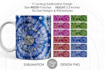 Tie dye mug sublimation designs, silver gold rhinestones