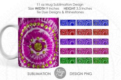Tie Dye Mug, 11 oz mug template, mug sublimation template