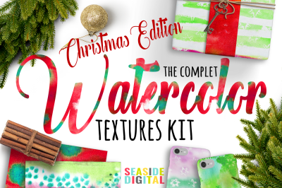 The Complet Watercolor Textures Kit - Christmas Edition