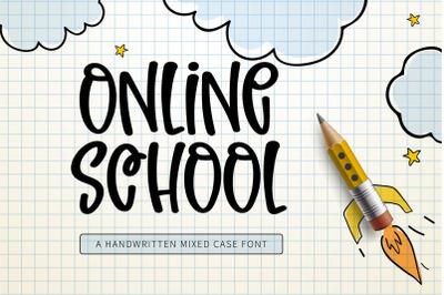 Online School - A handwritten mixed case font
