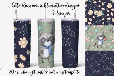 Cute Raccoon sublimation design Skinny tumbler wrap design