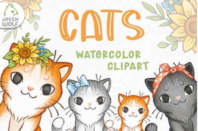 Cat clipart Watercolor cats clip art Watercolour kitten png