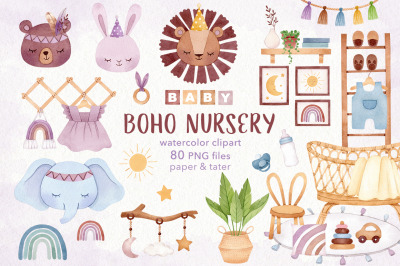 Watercolor BOHO Nursery Clipart Set, Bohemian Baby Room PNG