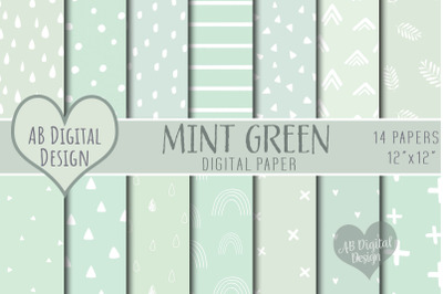 Mint Green Digital Papers, Baby Showers, Boy or Girl, Scandi Boho