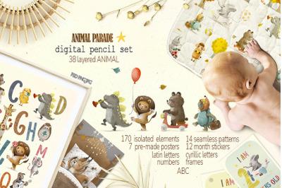 digital pencil | Cute animal parade