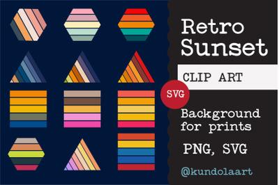 Retro sunset. SVG, PNG