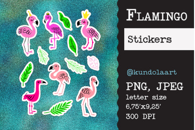 Stickers flamingo, summer. PNG