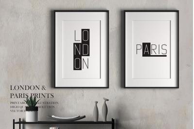 London and Paris Prints