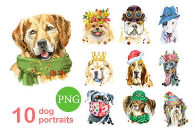 10 watercolor dog portraits 9