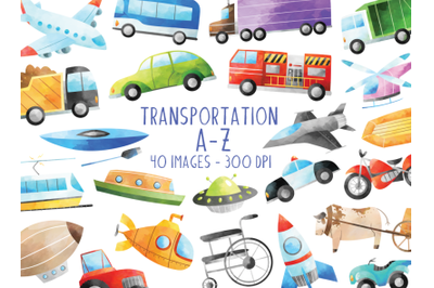 Watercolor Transportation A-Z Clipart