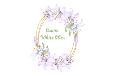 golden wreath, round frame with watercolor  white lilies flowers