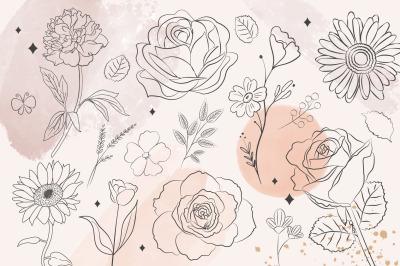 Floral Line Art, Flower, Botanical Watercolor, Feminine Doodles