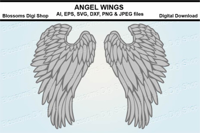 Angel Wings SVG, DXF, EPS and PNG cut files