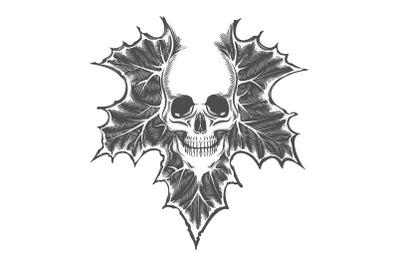 Skull On Maple Leaf Tattoo