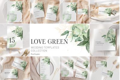 Greenery Wedding Template Cards Green Gold Invitation Set