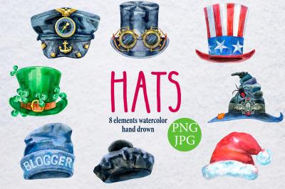 Watercolor amazing hats 3
