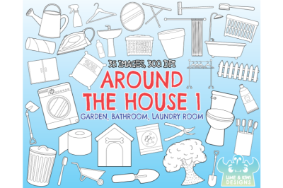 Around the House 1 - Garden, Bathroom, Laundry Room Digital Stamps