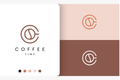 coffee mug logo in modern simple shape