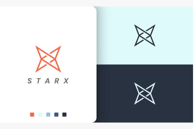 letter x or star logo in simple style