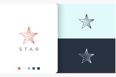 star logo in modern mono line shape