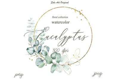 Eucalyptus Clipart Frame Botanical Watercolor