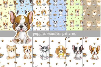 Seamless patterns with puppies, kids cute pattern, pattern with dogs
