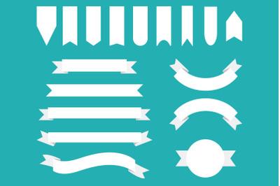 White Badge & Banner Clip Art Set