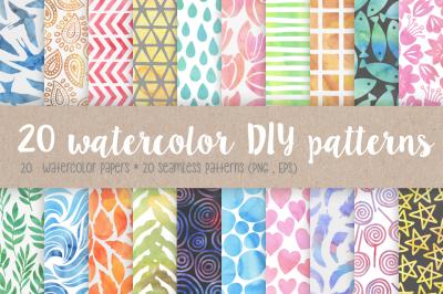 20 Watercolor DIY Patterns
