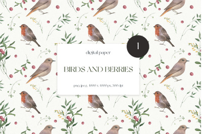 Birds and Berries Watercolor Seamless Pattern