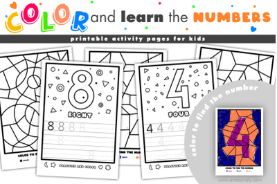 Color and learn the numbers | printable activity pages for kids.