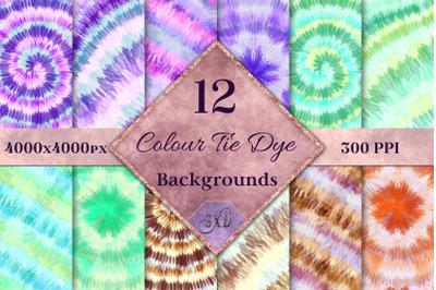 Colour Tie Dye Backgrounds - 12 Image Textures